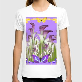 ART NOUVEAU PURPLE CALLA LILIES & BUTTERFLY FLOWERS ART T-shirt