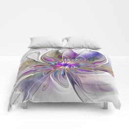 Energetic, Abstract And Colorful Fractal Art Flower Comforters