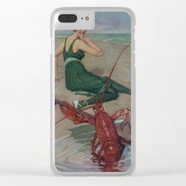 Vintage Lobster Guitar Serenade Illustration (1914) Clear iPhone Case