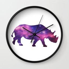 Rhino and Galaxy Space Wall Clock