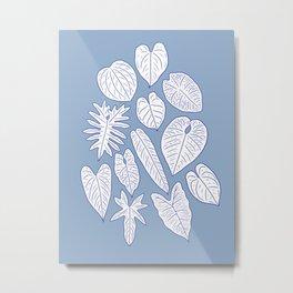 Tropical Houseplant Aroid Leaves Line Art Metal Print
