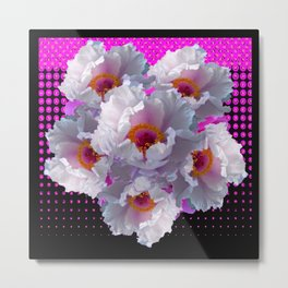 WHITE TREE PEONY FLOWERS FLORAL FUCHSIA BLACK ART Metal Print