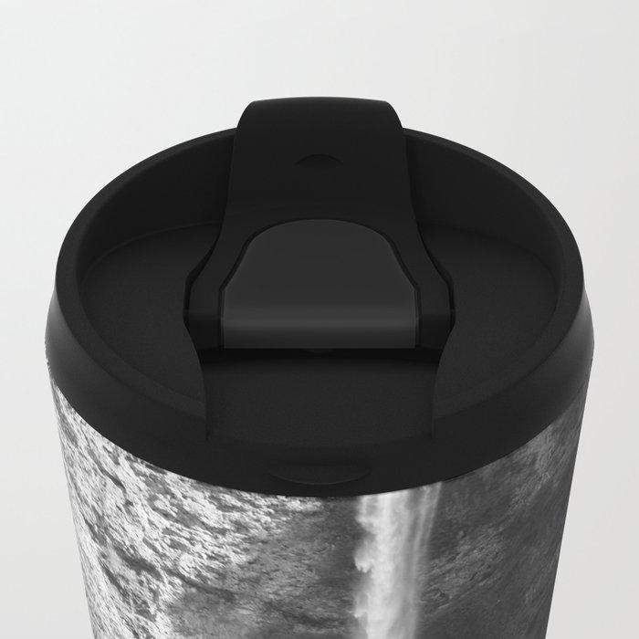 Multnomah Falls Oregon Waterfall Black and White Metal Travel Mug