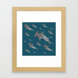 Hammerhead shark school Framed Art Print