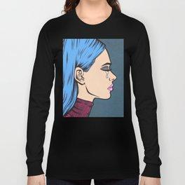 Turtleneck Tears Sad Comic Girl Long Sleeve T-shirt