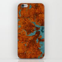 vintage map iPhone & iPod Skins featuring Vintage map by Larsson Stevensem