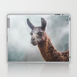 Curious, wise looking guanaco / llama on a misty morning in the Andes mountains, Peru Laptop & iPad Skin
