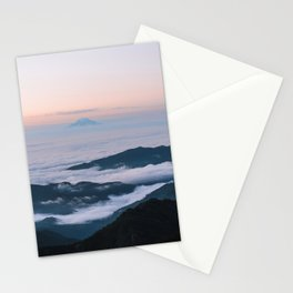 Mount Rainier Sunset Above the Clouds Stationery Cards
