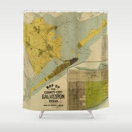 Vintage Map of Galveston Texas (1891) Shower Curtain