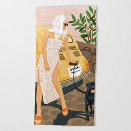 Tour #illustration Beach Towel
