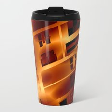 Abstract 379 Orange Geometric Windows Metal Travel Mug