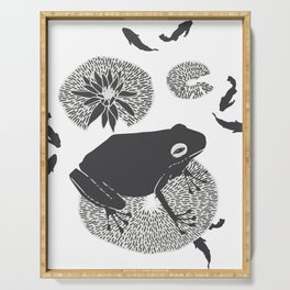 Frog on a Lily Pad No Colour Serving Tray