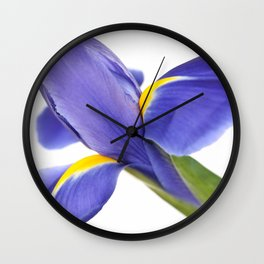 Blue Iris On White Background Wall Clock