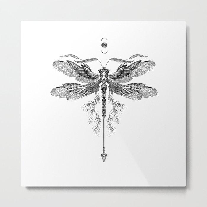 Dragon Fly Tattoo Black and White Metal Print