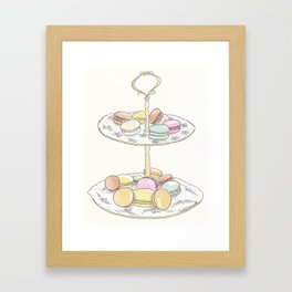 French Macarons Take a Stand, French Paris Pastry illustration Framed Art Print