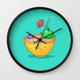Fruit and oatmeal (Best friends. Character set.) Wall Clock