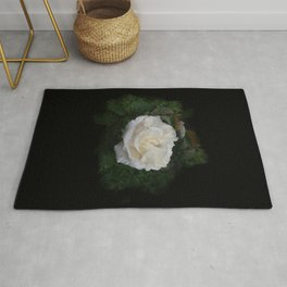 WHITE ROSE FLOWER WITH FRESH WATER DROPS   Rug