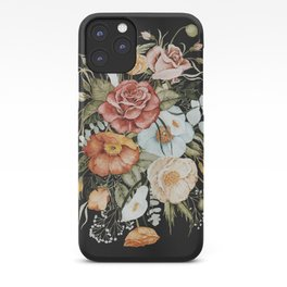 Roses and Poppies Bouquet on Charcoal Black iPhone Case