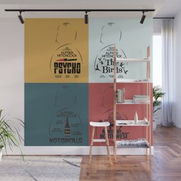 Four Hitchcock movie poster in one (Psycho, The Birds, North by Northwest, Notorious), cinema, cool Wall Mural