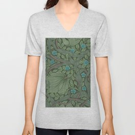 William Morris Art Nouveau Forget Me Not Floral Unisex V-Neck