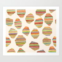 watercolor geometric lines Art Print