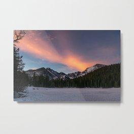 sunrise on an ice lake Metal Print