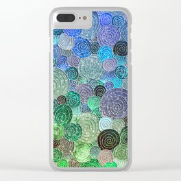 Abstract blue& green glamour glitter circles and polka dots for ladies Clear iPhone Case