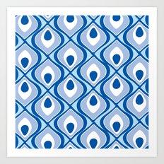 peacock pattern blue Art Print