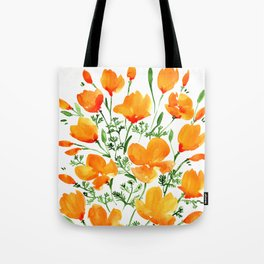 Watercolor California poppies Tote Bag