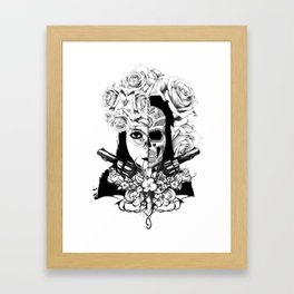 Black and white autoportrait Framed Art Print