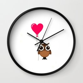 Carpe Noctem Seize the Night Cute Owl with Heart Balloon Night Owl Wall Clock