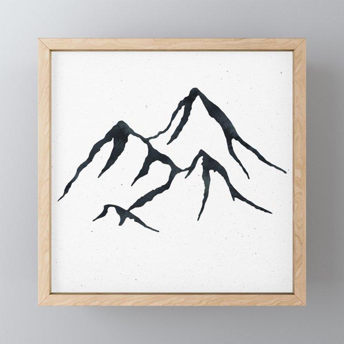 MOUNTAINS Black and White Framed Mini Art Print