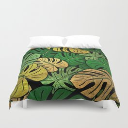 Grunge Monstera Leaves Duvet Cover