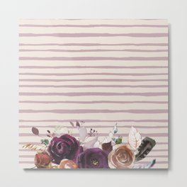 Artistic hand painted burgundy lilac bohemian floral stripes Metal Print