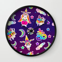 1997 Neon Rainbow Occult Sticker Collection Wall Clock