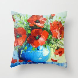 Bouquet of poppies Throw Pillow