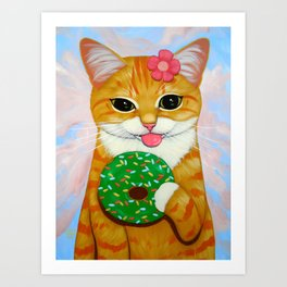 GIRL KITTY, GREEN DONUT Art Print