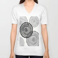 tree rings V-neck T-shirts featuring rings by Claire Rose Kleese