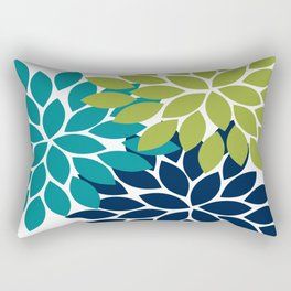 Bold Colorful Teal Green Navy Dahlia Flower Burst Petals Rectangular Pillow
