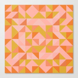 Deconstructed Triangle Pattern in Coral and Peach Canvas Print