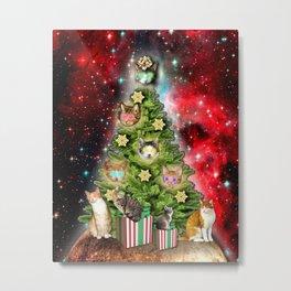 MERRY CHRISTMAS CATS Metal Print