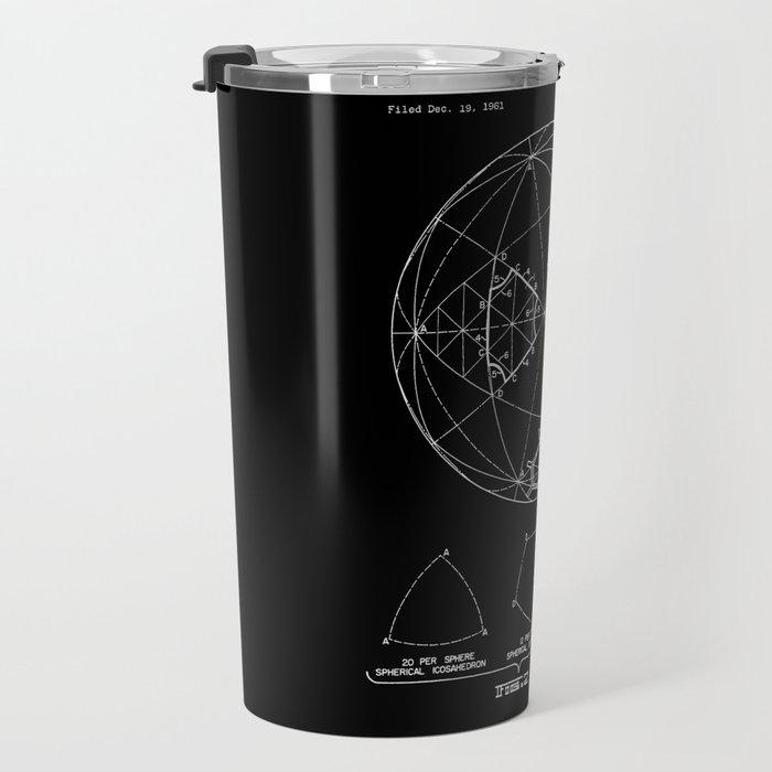 Buckminster Fuller 1961 Geodesic Structures Patent - White on Black Travel Mug