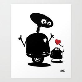 Robot Heart to Heart Art Print