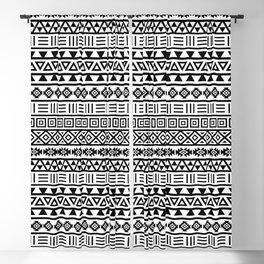 Aztec Influence Pattern Black on White Blackout Curtain