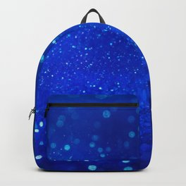Abstract blue bokeh light background Backpack