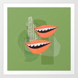 Lips (Green) Art Print