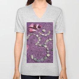 OM with Stones Purple Unisex V-Neck