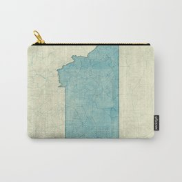Montana State Map Blue Vintage Carry-All Pouch