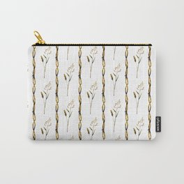 Abstract navy blue gold brown floral stripes Carry-All Pouch