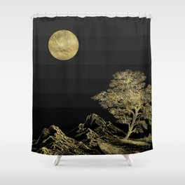 Gold and Black  Abstract Landscape Shower Curtain
